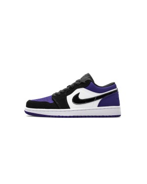 "Air Jordan 1 Low Zwart ""Court Purple"" Grape Toe 553558-125 Heren"