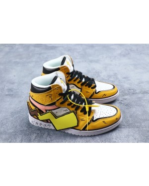 Air Jordan 1 High DIY Pikachu Custom Geel/Wit Schoenen 556298001 Heren Dames