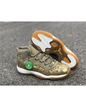 Air Jordan 11 WMNS Neutral Olijf/Sail-Gum Light Bruin-Metalen Stout dames NlAirJordan0219-21