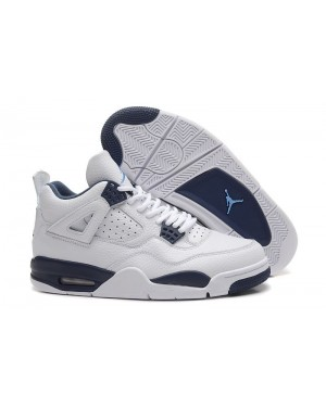 Air Jordan 4 Retro Wit/Legend Blauw-Midnight Marine voor heren