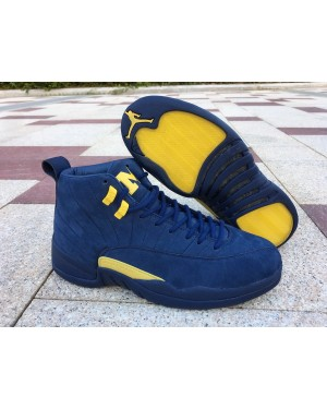 Air Jordan 12 Michigan College Marinha e Amarillo Homens PtAirJordan0230-10