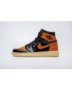 "Air Jordan 1 Retro High OG ""Shattered Backboard 3.0"" Negro/Naranja brillante 555088-028 Hombres Mujeres EsAirJordan0975-21"