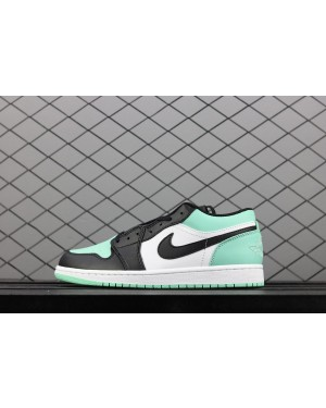 Air Jordan 1 Low Blanco/Emerald Rise-Negro para Hombres