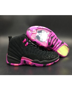 Air Jordan 12 Doernbecher Negro and Hyper Violet With Rosa Blast para hombre EsAirJordan0208-10