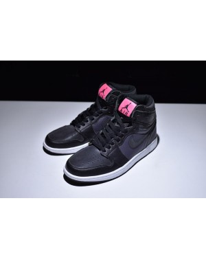 Air Jordan 1 High GS Black/Black-Anthracite and Pink For Women