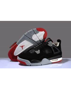 """Air Jordan 4 """"Bred 2017"""" Black/Cement Grey-Fire Red For Men and Women"""