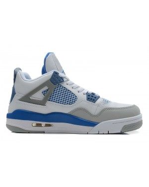 Air Jordan Retro 4 White/Military Blue-Neutral Grey For Men and Women AirJordan0437-21