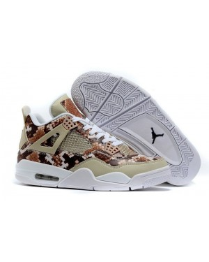 "Air Jordan 4 Retro ""Snakeskin"" White/Grey-Brown Release For Men"