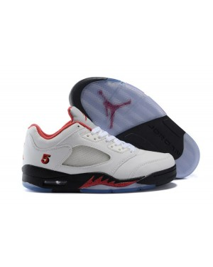 """Air Jordan 5 Low """"Fire Red"""" PE White/Fire Red-Black For Men"""