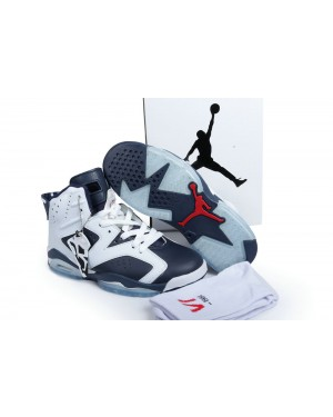 """Air Jordan 6 Retro """"Olympic"""" White and Midnight Navy-Varsity Red For Men and Women"""