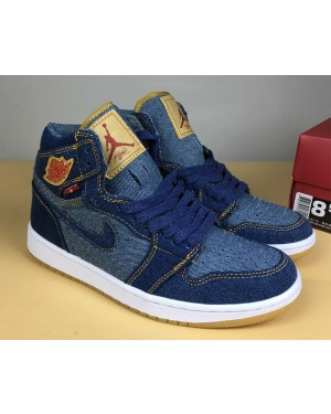 Air Jordan 1 Denim/Denim-Sail-Game Red For Men