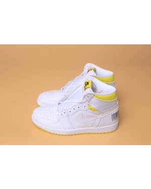 "Air Jordan 1 Retro High OG ""First Class Flight"" White/Yellow 555088-170 Men Women AirJordan0987-10"