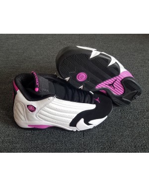 "Air Jordan 14 Retro Girls ""Fuchsia Blast"" White/Fuchsia Blast-Black For Women AirJordan0326-10"