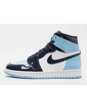 "Air Jordan 1 Retro OG High ""UNC Patent"" Dark Bleu Blanche CD0461-401 Hommes"