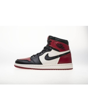 "Air Jordan 1 OG High Retro NRG Bred ""Noir Toe"" Blanche/Vin Rouge 555088-610 Homme"