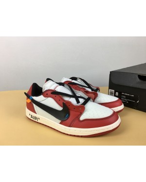 Off-White x Air Jordan 1 Low Blanche/Noir-Varsity Rouge Custom Pour Homme