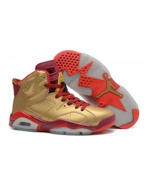 Air Jordan 6 Retro Metallisch Gold/Team Rot Für Herren DeAirJordan0517-10